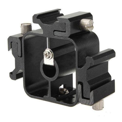 Light Stand Head Adapter: 3 In 1 Hot Shoe Bracket Triple Head Mount Adapter